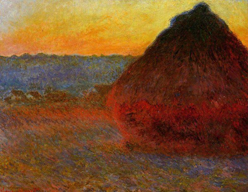 закатный пейзаж Стог сена, розовые и голубые тона :: Клод Моне, описание картины - Claude Monet фото
