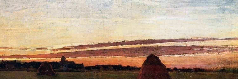 пейзаж < Стога сена в лучах восходящего солнца  >:: Клод Моне, описание картины - Claude Monet фото