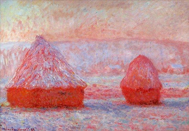 пейзаж < Стога сена утром, Живерни  >:: Клод Моне, описание картины - Моне Клод (Claude Monet) фото