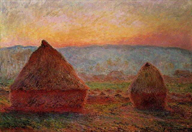 пейзаж < Стога сена в Живерни, восход солнца  >:: Клод Моне, описание картины - Claude Monet фото