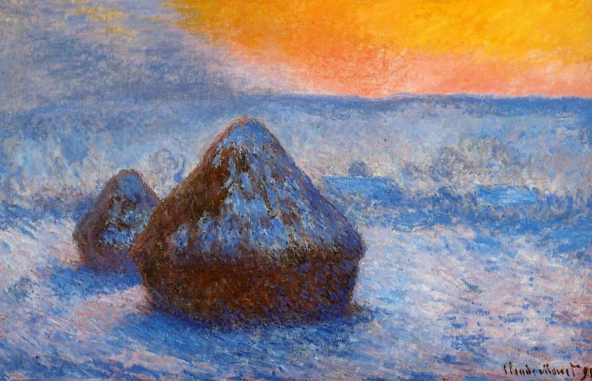 пейзаж Стога сена  лучах восходящего солнца, выпал снег :: Клод Моне, описание картины - Claude Monet фото