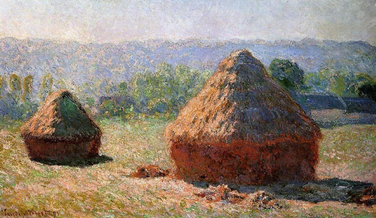 пейзаж < Стога сена утром, конец лета  >:: Клод Моне, описание картины - Claude Monet фото