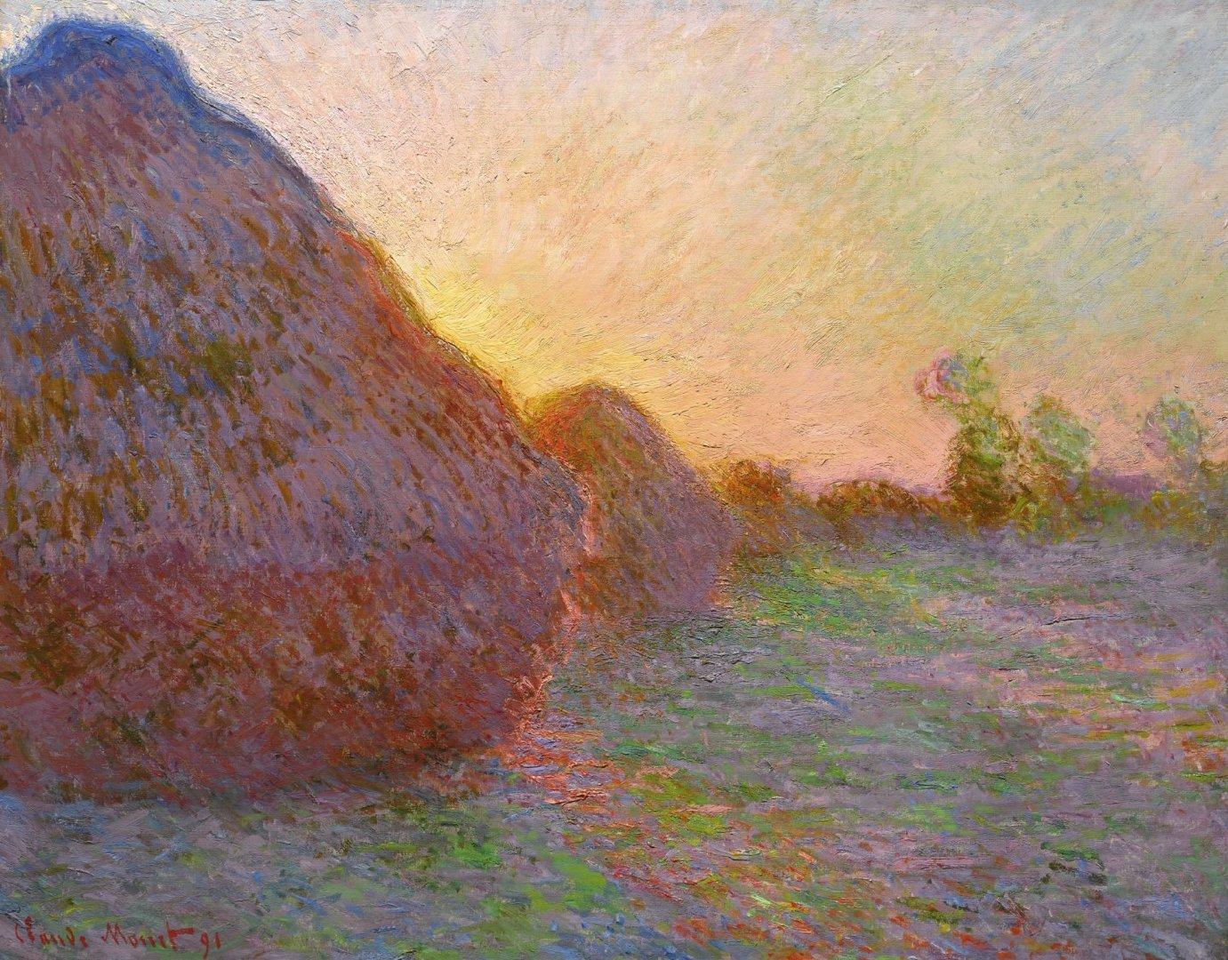 пейзаж < Стога сена >:: Клод Моне, описание картины - Моне Клод (Claude Monet) фото