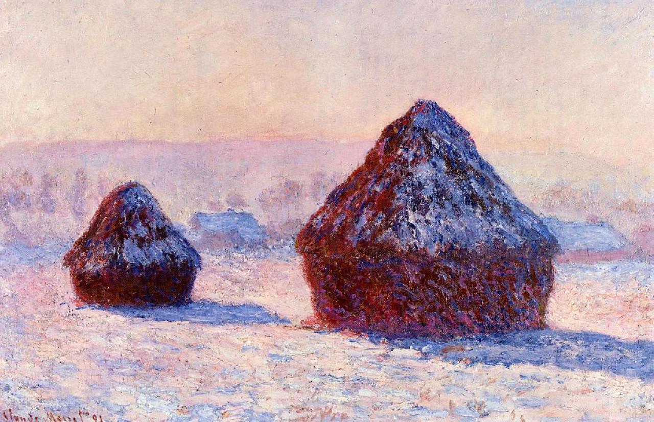 пейзаж < Стога сена утром при выпавшем снеге>:: Клод Моне, описание картины - Моне Клод (Claude Monet) фото