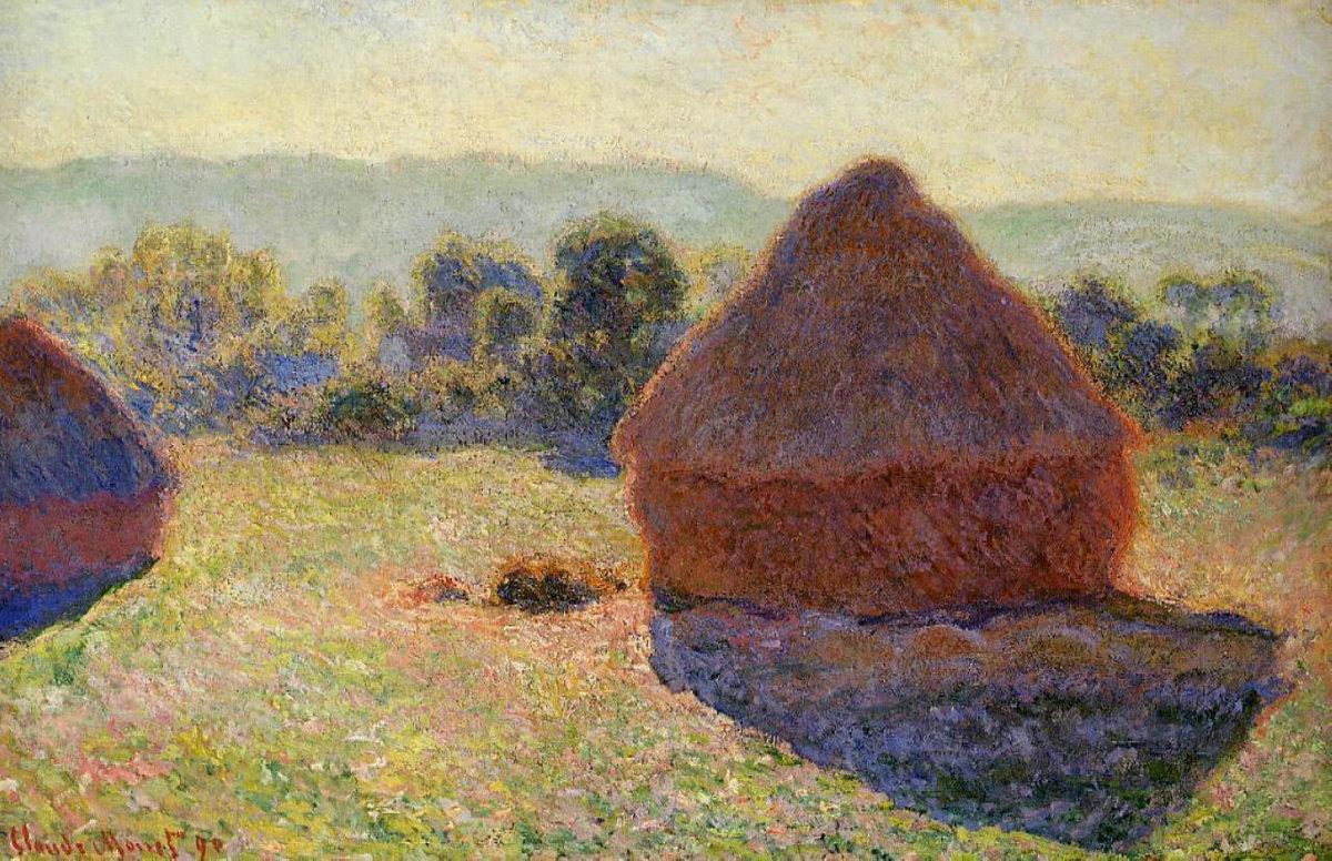 пейзаж < Стога сена в солнечном свете, полдень >:: Клод Моне, описание картины - Claude Monet фото