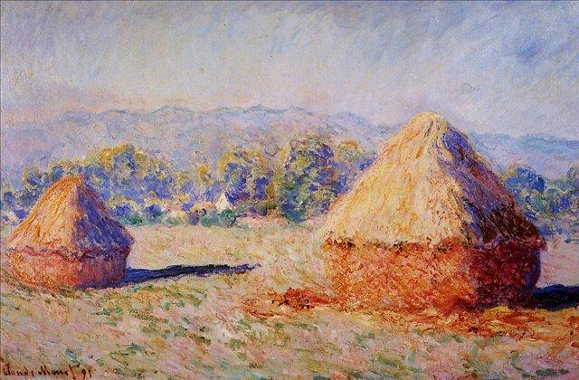 пейзаж Стога сена в солнечном свете, утро :: Клод Моне, описание картины - Claude Monet фото
