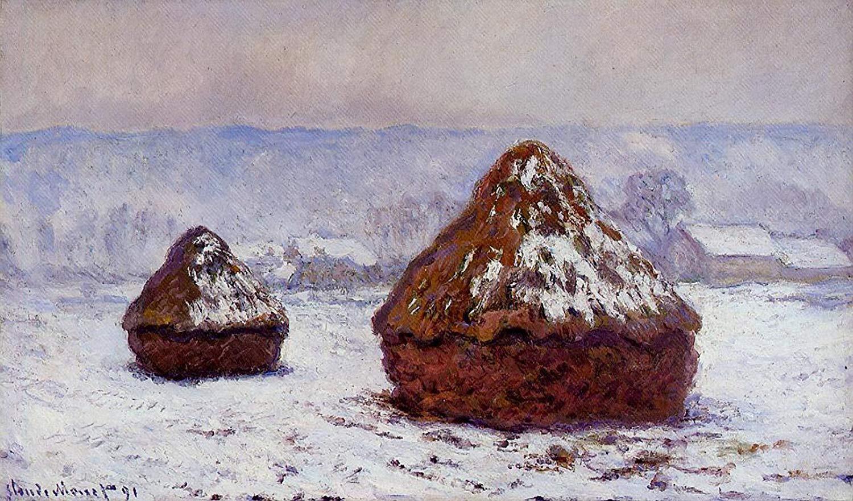 пейзаж Стога сена, заснеженные :: Клод Моне, описание картины - Claude Monet фото