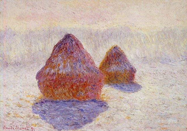 пейзаж < Стога сена покрытый инием >:: Клод Моне, описание картины - Моне Клод (Claude Monet) фото