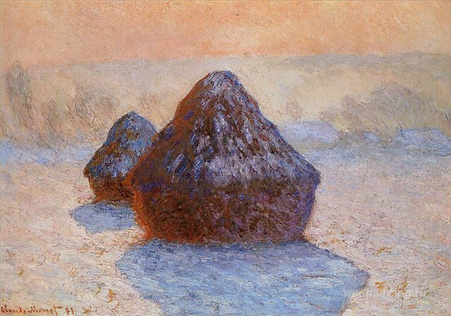 пейзаж < Стога сена покрытый белым инием >:: Клод Моне, описание картины - Claude Monet фото