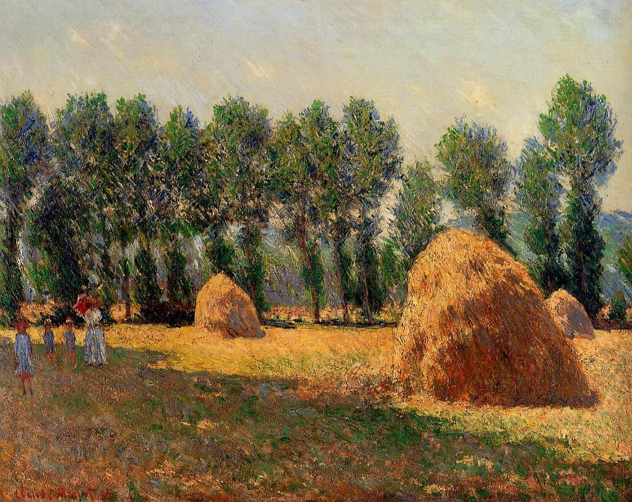 пейзаж < Стога сена в Живерни >:: Клод Моне, описание картины - Моне Клод (Claude Monet) фото