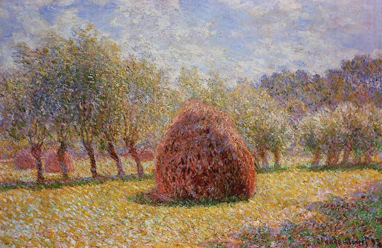 пейзаж < Стога сена в Живерни >:: Клод Моне, описание картины - Claude Monet фото