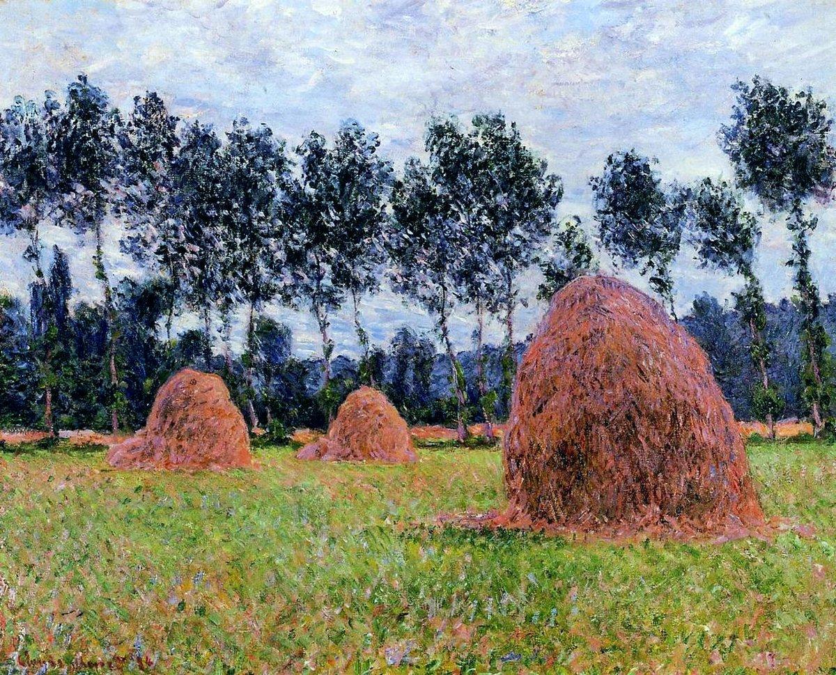 пейзаж Стога сена, облачный день :: Клод Моне, описание картины - Claude Monet фото