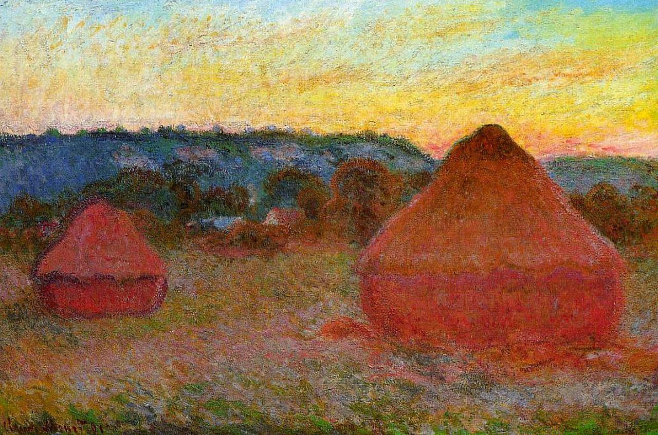 пейзаж < Два стога сена на исходе осеннего дня >:: Клод Моне, описание картины - Claude Monet фото