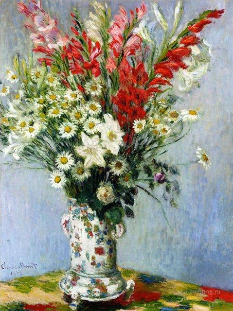 цветы < Букет гладиолусов, лилий и ромашек >:: Клод Моне, описание картины - Claude Monet фото