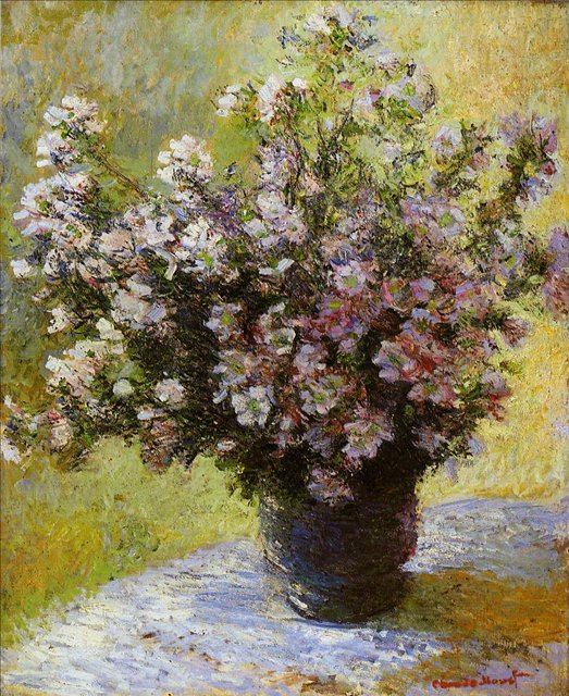 цветы < Букет мальв >:: Клод Моне, описание картины - Claude Monet фото