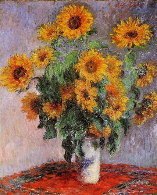 цветы Букет подсолнухов :: Клод Моне, описание картины - Claude Monet фото
