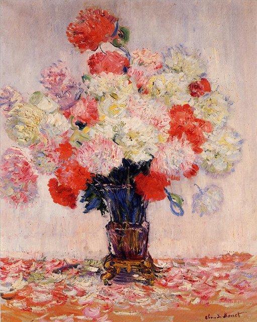 цветы Ваза с пионами :: Клод Моне, описание картины - Claude Monet фото