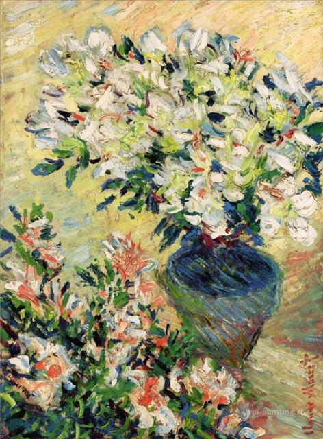 цветы < Белая азалия в горшке >:: Клод Моне, описание картины - Claude Monet фото