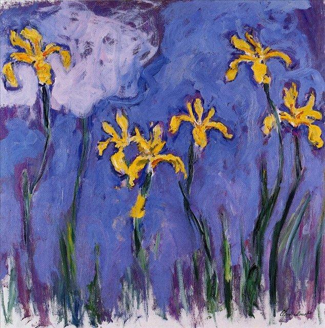 цветы Жёлтые ирисы с розовым облаком :: Клод Моне, описание картины - Claude Monet фото