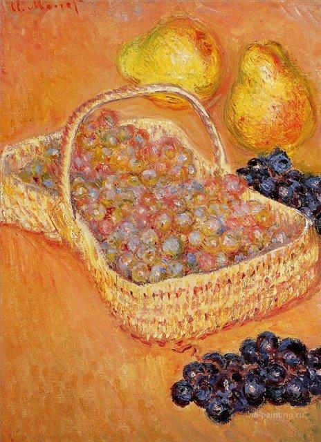 натюрморт Корзина с виноградом, айва и груши :: Клод Моне, описание картины - Claude Monet фото