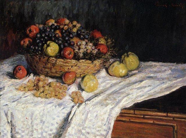 натюрморт Корзина фруктов с яблоками и виноградом :: Клод Моне, описание картины - Claude Monet фото
