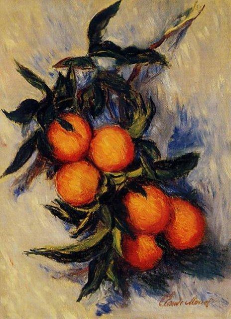 натюрморт Апельсиновая ветвь с плодами :: Клод Моне, описание картины - Claude Monet фото