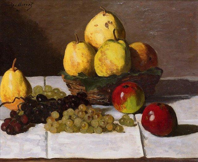 натюрморт < Натюрморт с айвой и виноградом >:: Клод Моне, описание картины - Claude Monet фото