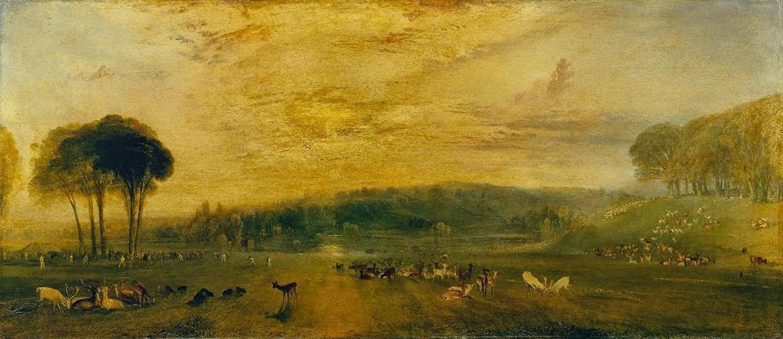картина < Озеро в Петворке, восход солнца, битва оленей >:: Уильям Тёрнер ( William Turner ) - Тёрнер Уйльям фото