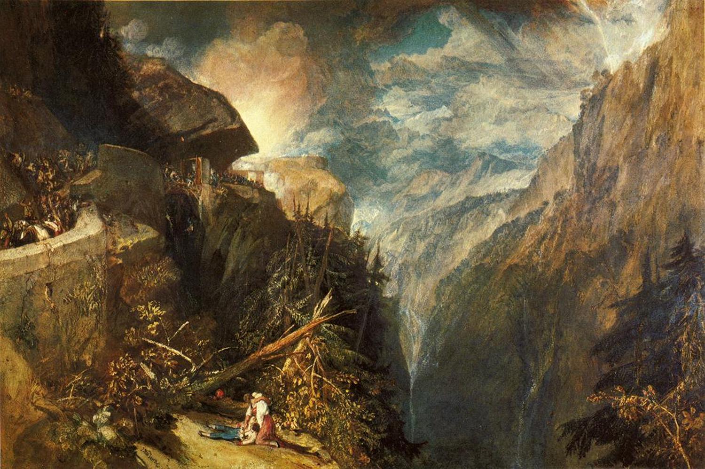 пейзаж Битва у каменной крепости Валь Даосте в Пьемонте :: Уильям Тёрнер - William Turner фото