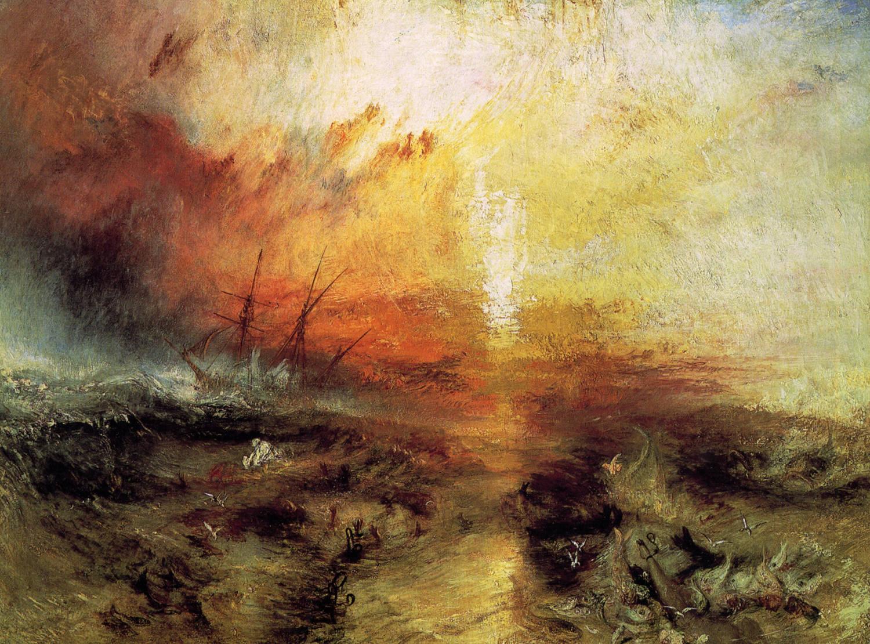 морской пейзаж - С судна, перевозящего рабов, бросают за борт умирающих и мёртвых, надвигается тайфун :: Уильям Тёрнер - William Turner фото