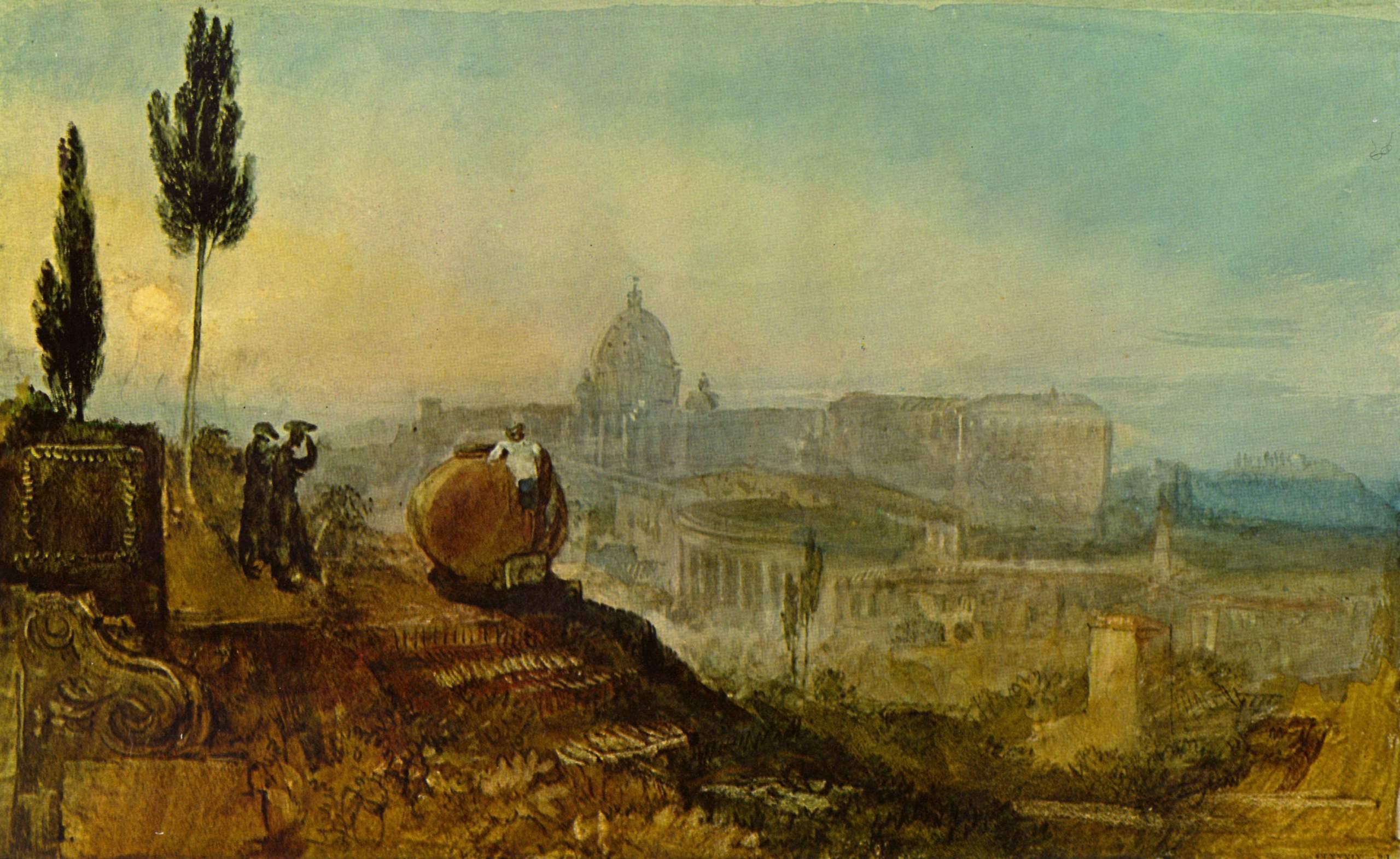 городской пейзаж Рим - вид на собор святого Петра, вид из усадьбы Барберини :: Уильям Тёрнер - William Turner фото