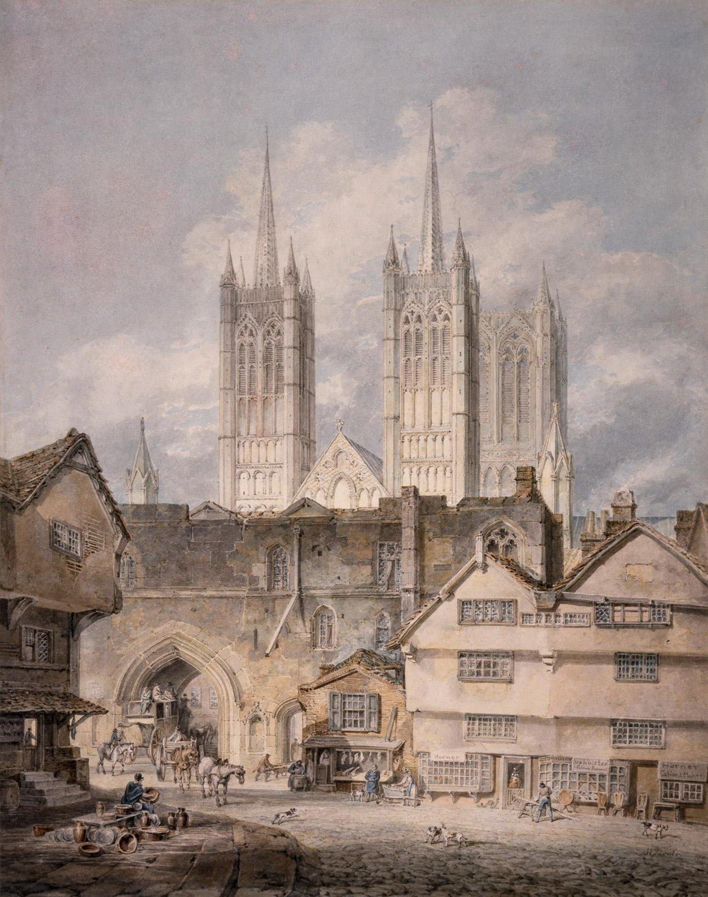 городской пейзаж Кафедральная церковь в Линкольне :: Уильям Тёрнер - William Turner фото