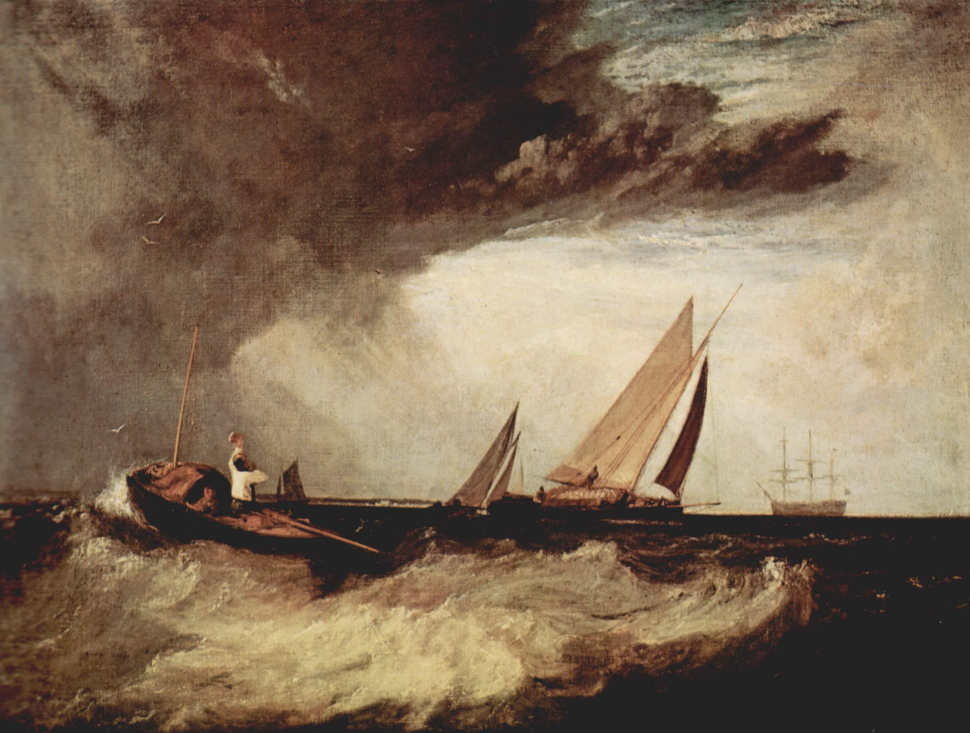 картина < Рыбак из Шуберинесса призывает на помощь уайтстейблский паром >:: Уильям Тёрнер ( William Turner ) - Тёрнер Уйльям фото