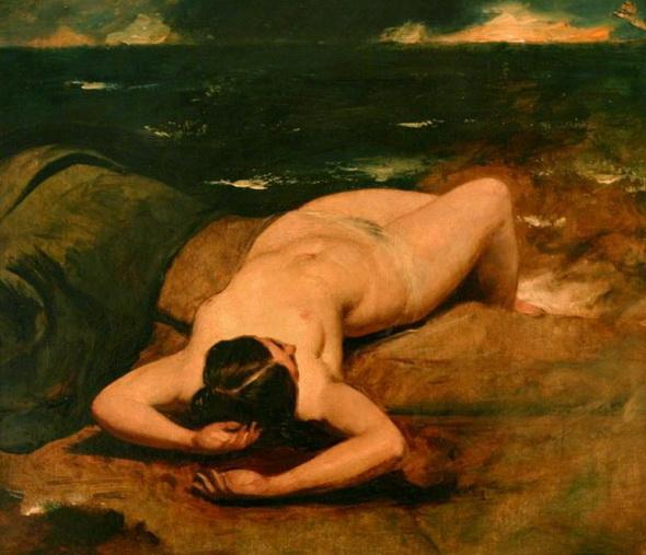 картина Женщина у моря ::  Этти Уильям, картина ню, эротика в живописи  - Картины ню, эротика в шедеврах живописи фото