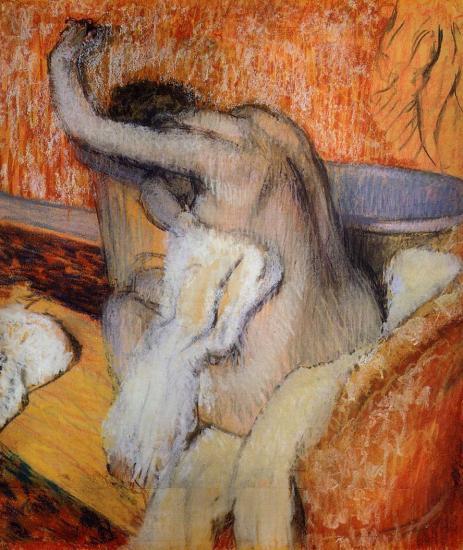 картина После ванны, женщина, вытирающая себя полотенцем :: Эдгар Дега - Картины ню, эротика в шедеврах живописи фото