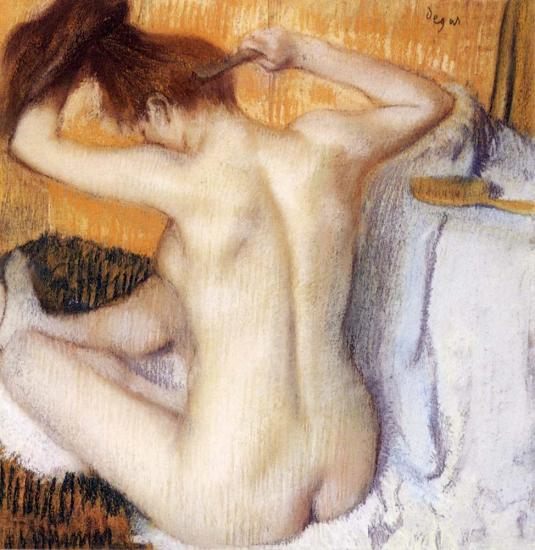 картина Женщина за туалетом :: Эдгар Дега - Картины ню, эротика в шедеврах живописи фото
