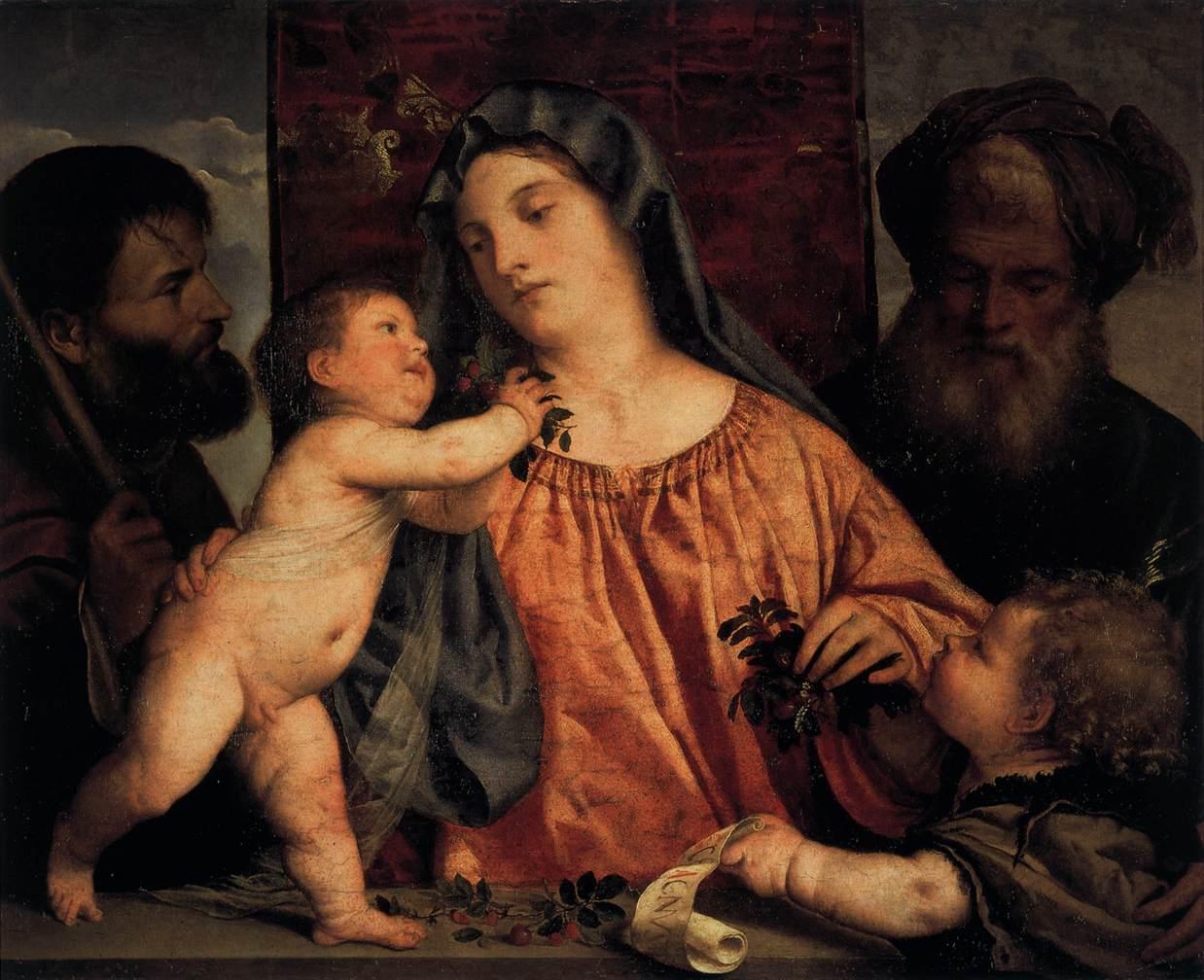 Мадонна с вишней и святым Иосифом (Вишнёвая Мадонна) :: Тициан Вачелио - Tiziano Veccellio фото