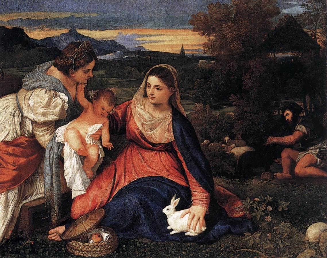 Мадонна с младенцем со Св. Екатериной и кроликом  :: Тициан Вачелио,  описание картины - Tiziano Veccellio фото