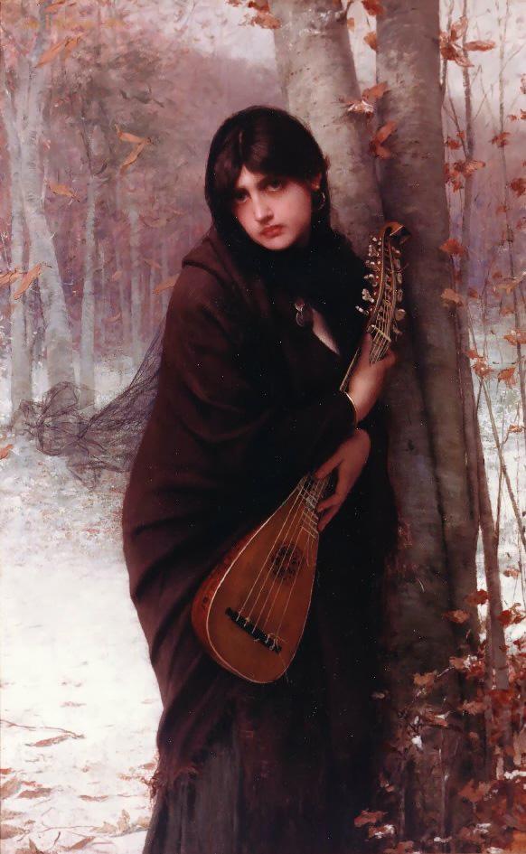 Девушка с мандолиной :: Жюль Жозеф Лефевр, описание картины  - Портреты фото
