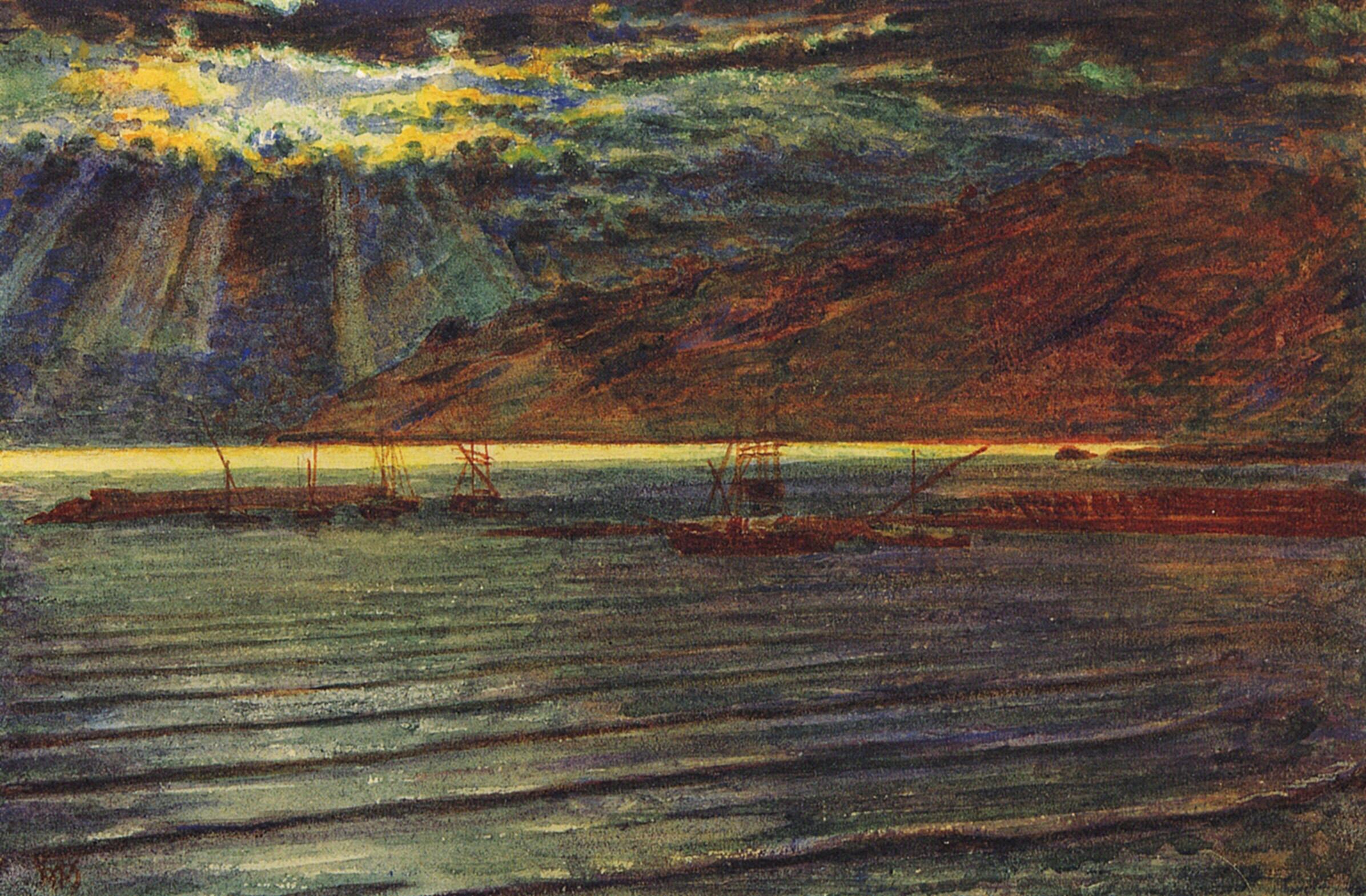 Рыбацкие лодки при лунном свете :: Уильям Холман Хант - Море в живописи ( морские пейзажи, seascapes ) фото