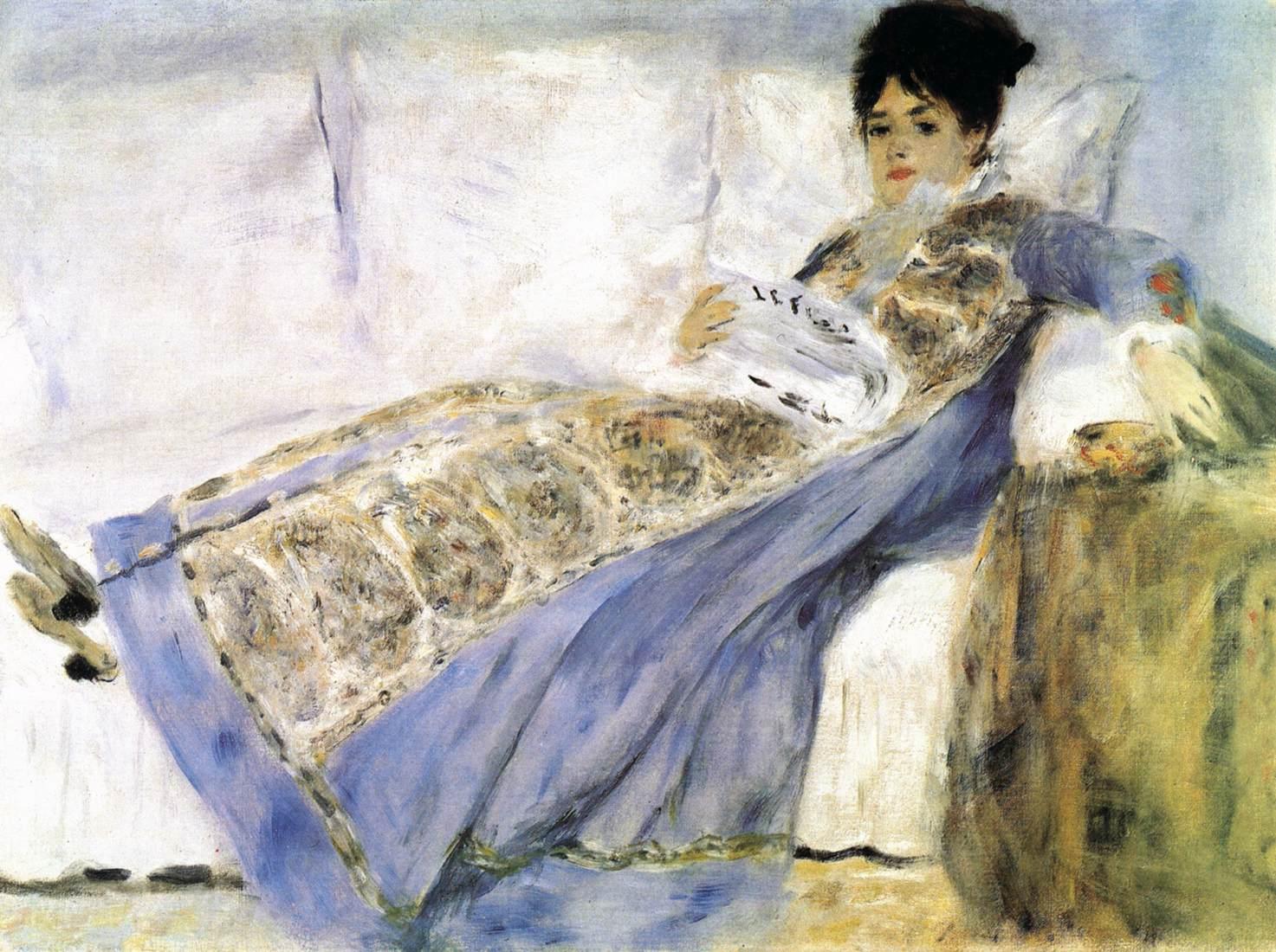 Портрет жены Клода Моне на диване :: Ренуар Пьер Огюст - Pierre-Auguste Renoir фото