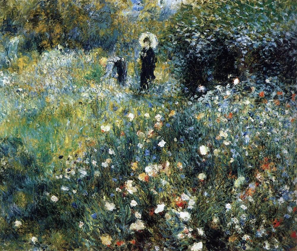 картина Женщина с зонтиком в саду :: Ренуар Пьер Огюст - Pierre-Auguste Renoir фото