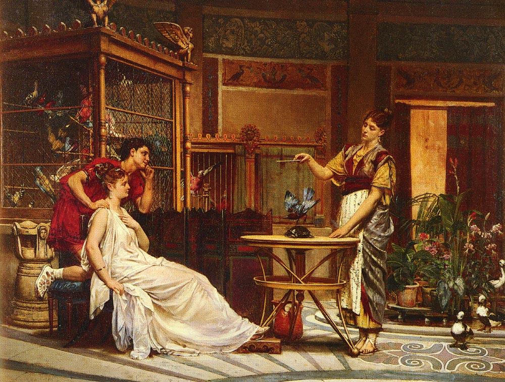 Птицы в клетках (римский интерьер) :: Леон Глейз (Leon Glaize) - Древний Рим и Греция, Египет фото
