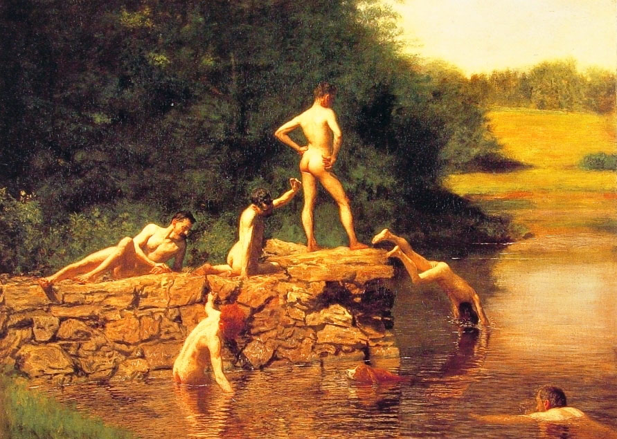 художник Томас Икинс, картина Место для купания (пруд) - Картины ню, эротика в шедеврах живописи фото