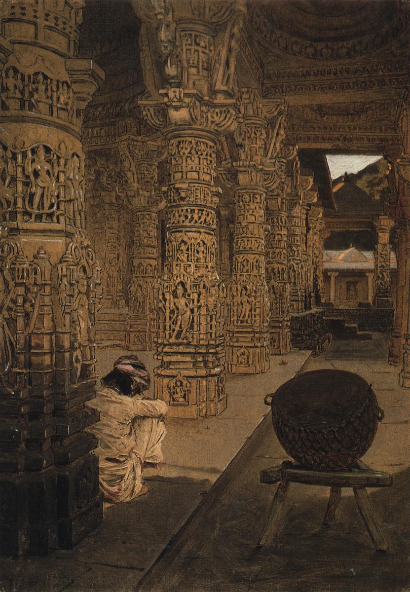 Колоннада в Джайнском храме на горе Абу вечером. Этюд :: Василий Васильевич Верещагин - Архитектура фото