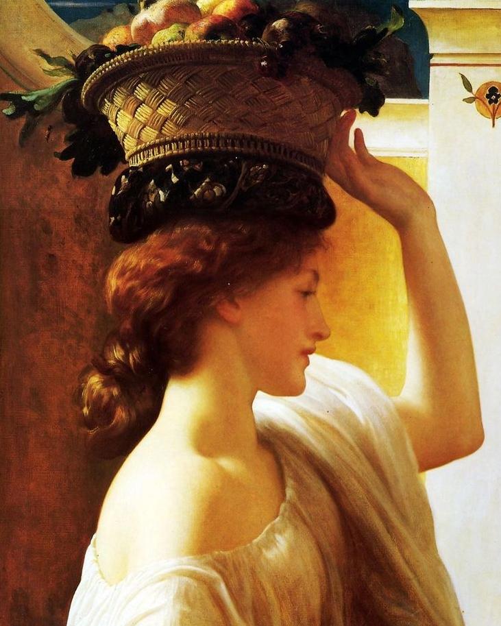 Девушка с корзиной фруктов :: Фредерик Лейтон, описание картины - Leighton, Frederick фото
