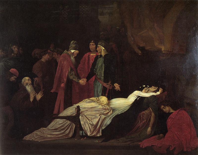 Воссоединение семейств Монтекки и Капулетти над мёртвыми телами Ромео и Джульты - Лейтон Фредерик фото
