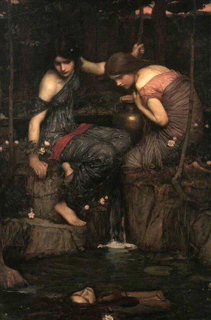 Нимфы находят голову Орфея :: Джон Уйльям Вотерхауз - Античная мифология фото