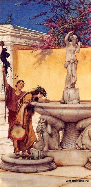 картина Между Венерой и Бахусом :: Альма-Тадема сэр Лоуренс - Древний Рим и Греция, Египет фото