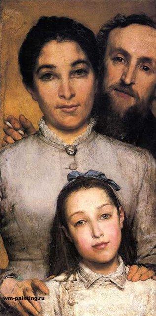 портрет Эме Жюль Далю, его жена и дочь :: Альма-Тадема сэр Лоуренс, описание картины  - Портреты фото
